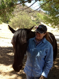 Anna Thomas Monty Roberts Instructor Gail with horse